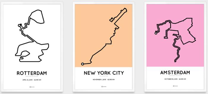 New Marathon Herinnering: Personalized, printed running maps &ZT03