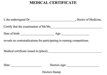sportmedisch onderzoek medical certificate