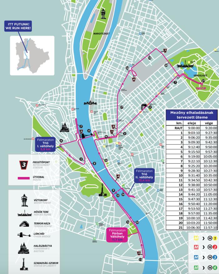 parcours halve marathon boedapest route