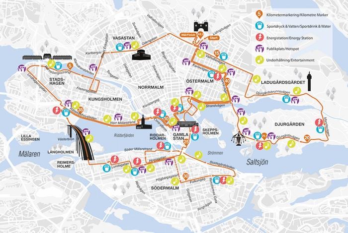 kaart marathon Stockholm parcours