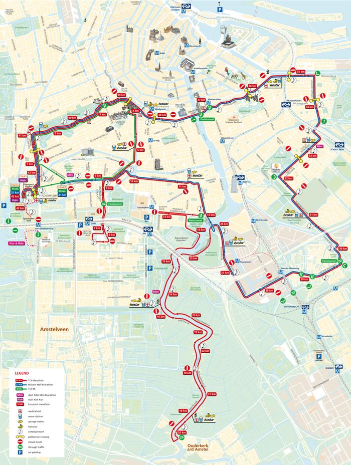 parcours route marathon amsterdam