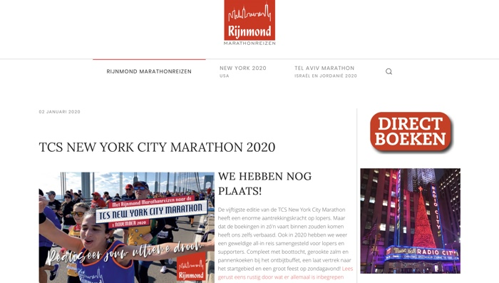 Rijnmond Marathonreizen website